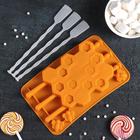 "Форма для леденцов и мороженого, 3 ячейки, 20,5х12х2 см ""Соты"" с палочками, цвета МИКС"