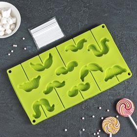 Форма для леденцов и мороженого Доляна «Усы», 28,5×16×2 см, 10 ячеек, с палочками, цвет МИКС
