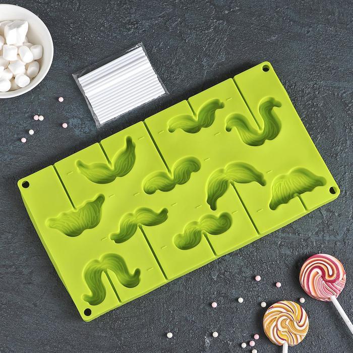 """Форма для леденцов и мороженого, 10 ячеек, 28,5х16х2 см """"Усы"""" с палочками, цвета МИКС"""