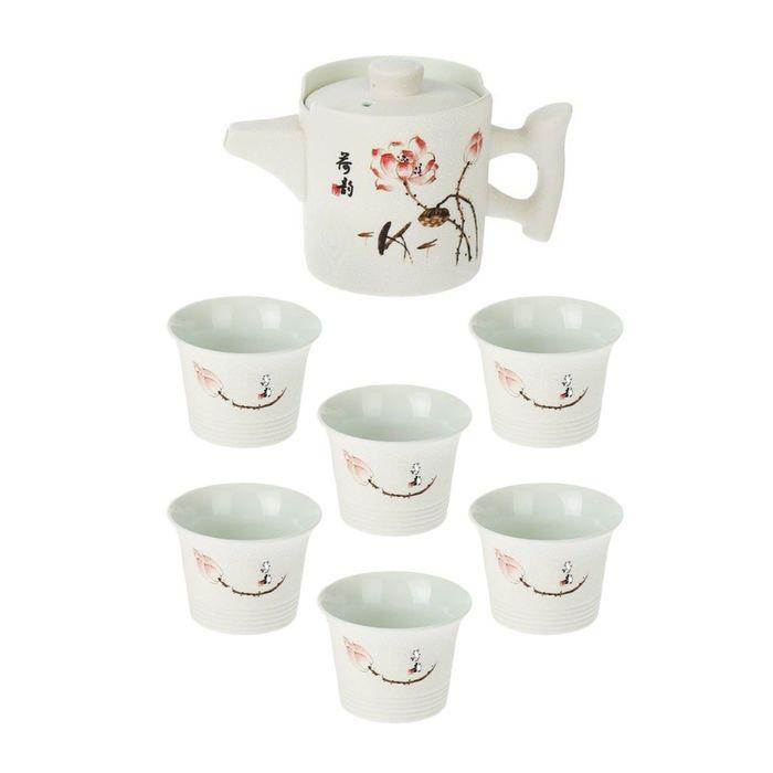 "Набор для чайной церемонии ""Розовая роза"", 7 предметов: чайник 170 мл, чашки 70 мл"