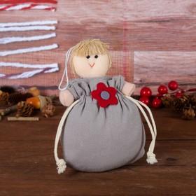 Подарочная сумочка «Куколка», с цветочком, цвета МИКС