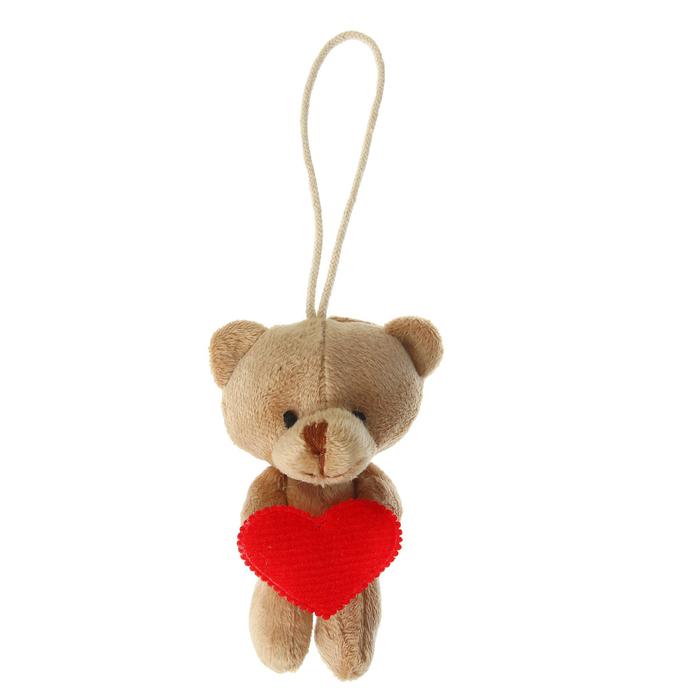 """Мягкая игрушка-подвеска """"Миша"""", в лапка сердце, цвета МИКС"""