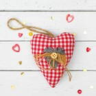 """Toy pendant """"Heart"""" ribbon with button, MIX color"""