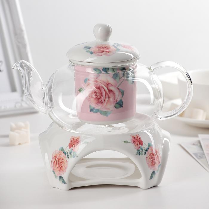 "Чайник заварочный с подогревом ""Роза"", 2 предмета: чайник 650 мл, подставка 19х13х18 см, цвета МИКС"