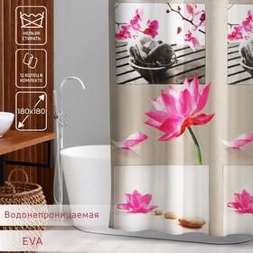 Штора для ванной комнаты Доляна «Медитация», 180×180 см, EVA, цвет белый