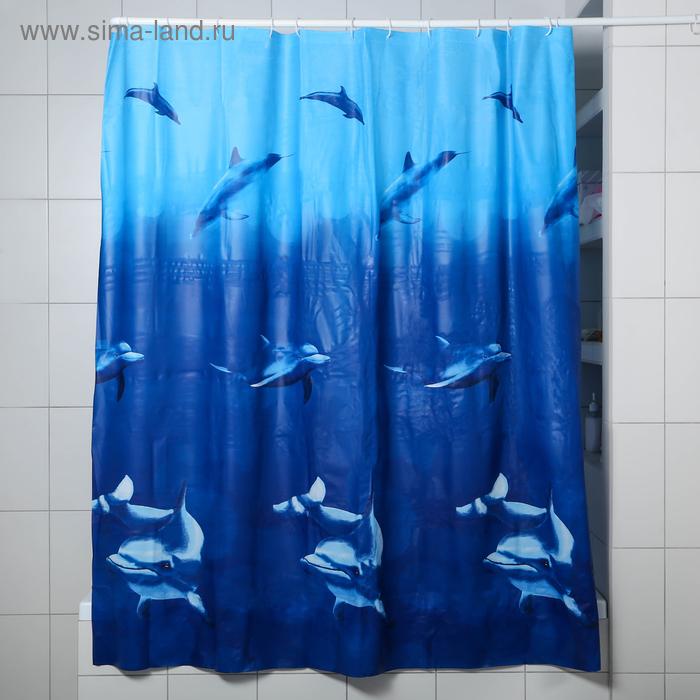"Shower curtain 180×180 cm ""Dolphins"" EVA"