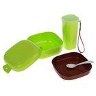 """Набор """"Лоренс"""", 2 предмета: контейнер 500 мл и бутылка 350 мл, цвета МИКС"""