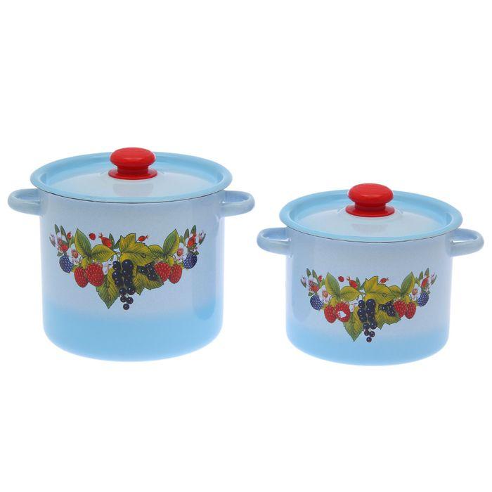 """Набор кастрюль """"Ягодный чай"""" 2 предмета: 3,5 л; 5,5 л"""