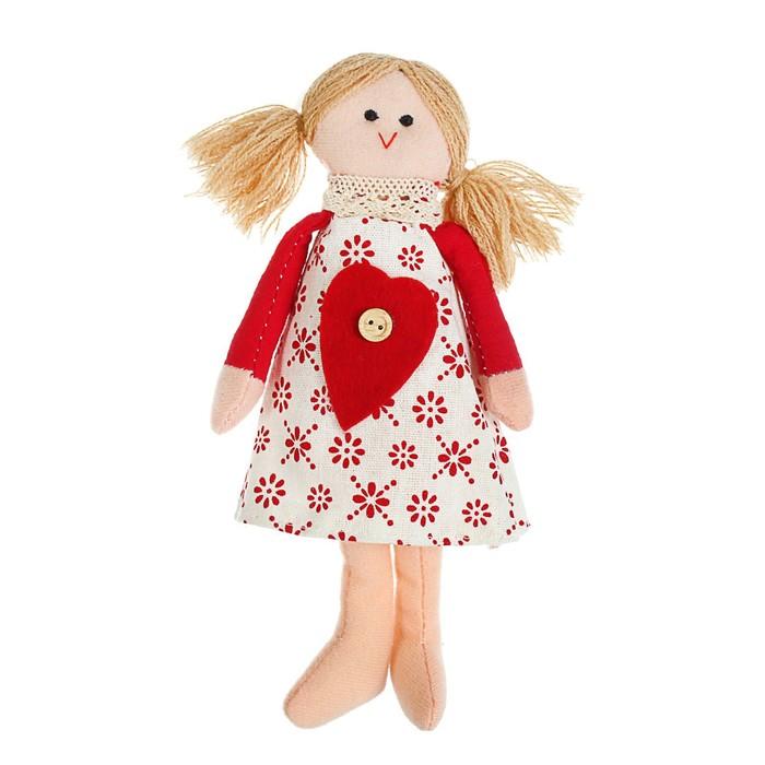 Мягкая игрушка кукла «Ириша», с сердцем на платье, цвета МИКС