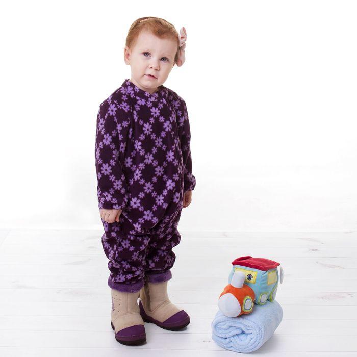 """Комбинезон для девочки """"Крошка Я"""" Фиолетовые цветы, рост 68-74 см, флис"""