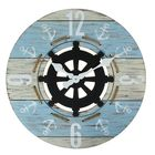 Часы настенные, серия Ретро.Морской принт, Якоря, руль в центре, d=60 см