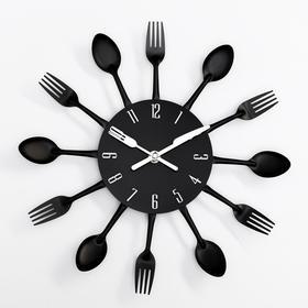 "Wall clock, series: the Kitchen, ""Cutlery"", black, d=29cm"