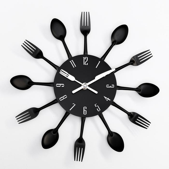 """Часы настенные, серия: Кухня, """"Столовые приборы"""", черные d=29см"""