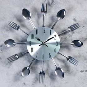 Часы настенные «Столовые приборы. Вилки и ложки», d=29 см, дискретный ход, хром