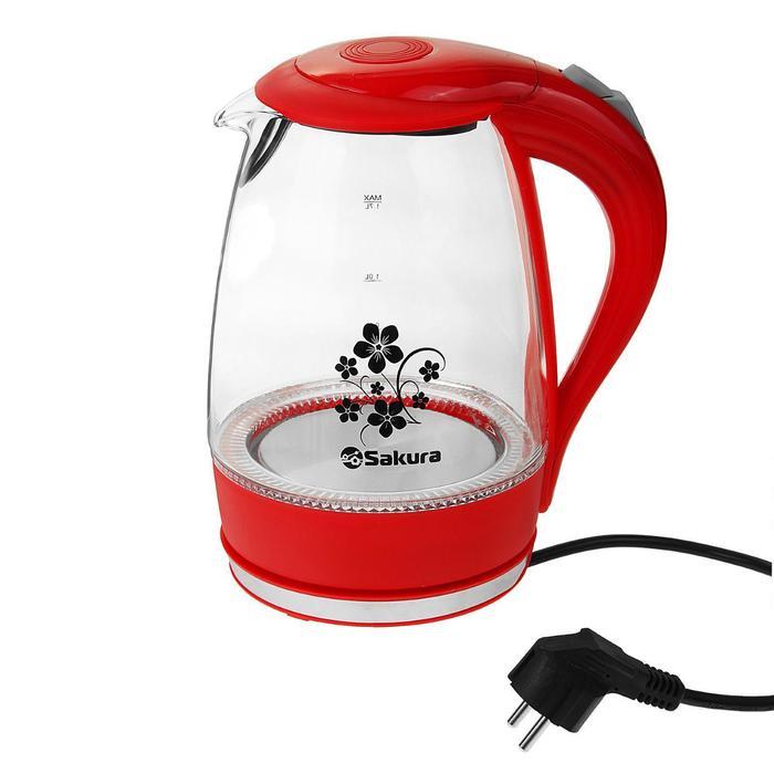 Чайник электрический Sakura SA-2710R, стекло, 1.7 л, 1850-2200 Вт, подсветка, красный