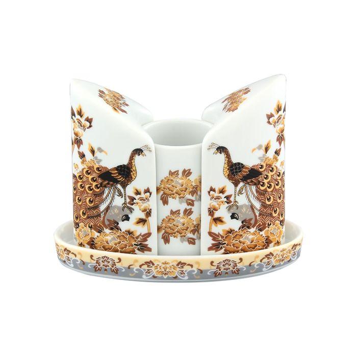 Набор для специй, вазочка под зубочистки «Павлин на бежевом», 3 предмета