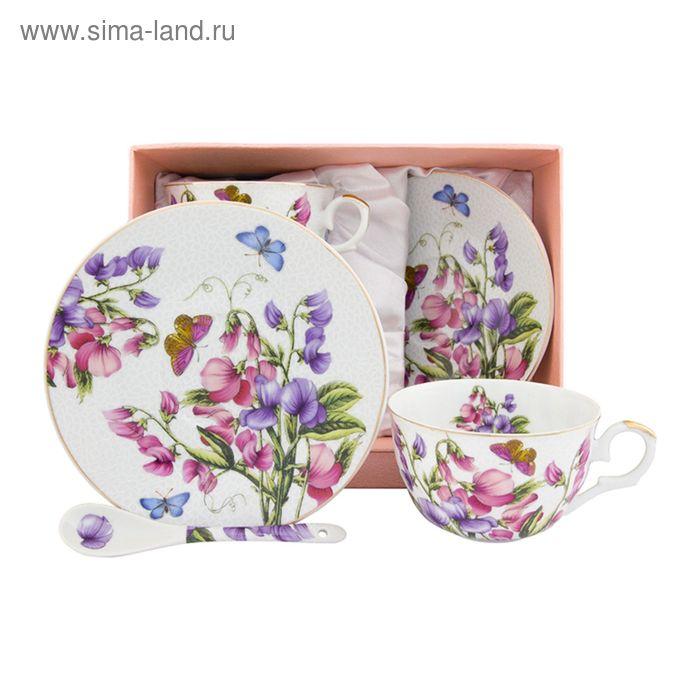 """Пара чайная """"Душистый цветок"""", ложки расклешённые, 6 предметов, 250 мл."""