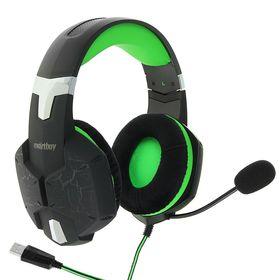 Наушники Smartbuy RUSH TAIPAN, игровые, микрофон, USB, 2.5 м, чёрно-зеленые