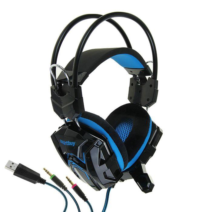 Наушники SmartBuy RUSH COBRA, игровые, полноразмерные,микрофон,3.5мм+USB, 2.2 м, чёрно-синие
