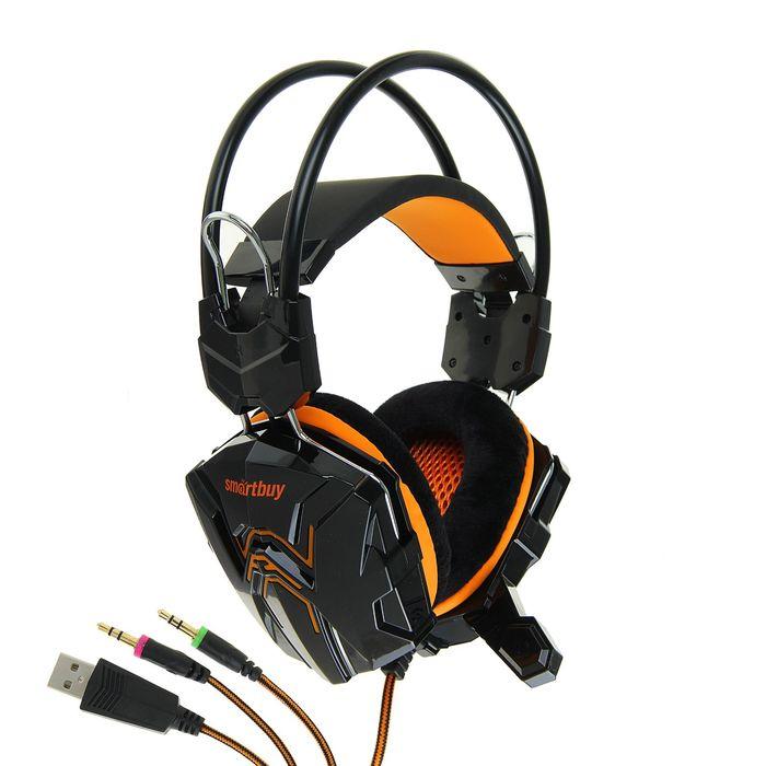 Наушники Smartbuy RUSH COBRA,игровые,полноразмерные,микрофон,3.5мм+USB,2.2 м,чёрно-оранжевые