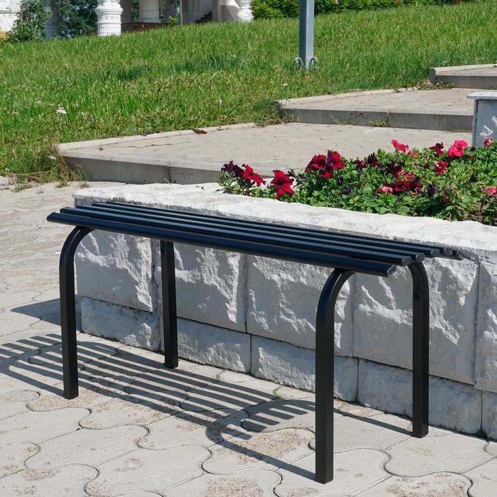 Скамья садовая без спинки «Скамейка №1», 101 × 34.5 × 42 см, двухместная, чёрная