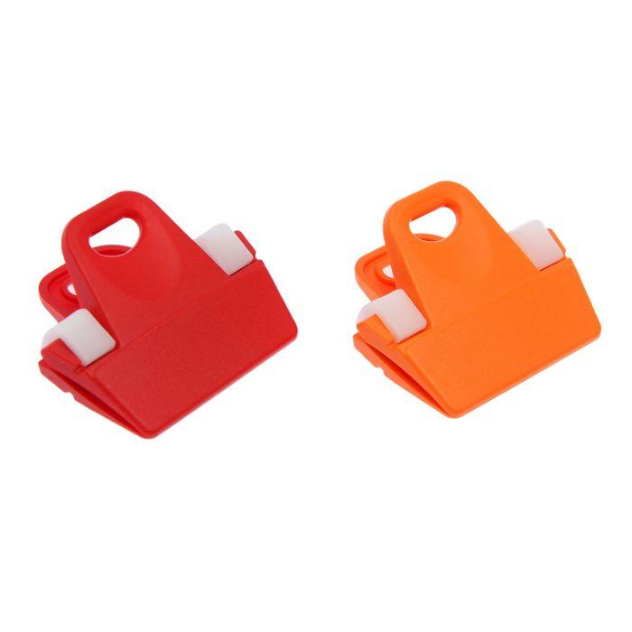 Набор зажимов для пакетов 2 шт, цвет МИКС