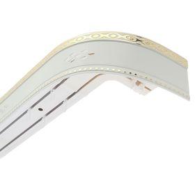 Карниз трёхрядный «Ультракомпакт. Ромб», 400 см, с декоративной планкой 7 см, цвет золото/белый