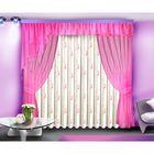 Комплект штор, 140х250 см-2 шт, тюль 500х250 см, ламбрекен 45х500 см, розовый