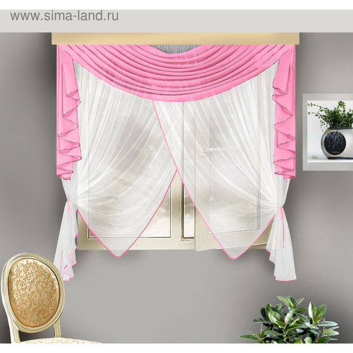 Шторы кухонные, размер 175х170 см, ламбрекен 70х170 см, розовый