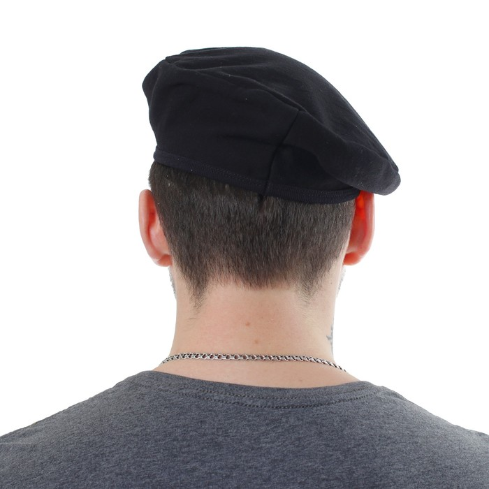Берет с кокардой для взрослых, обхват головы 55-59 см, цвет чёрный