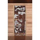 """Дверь для бани и сауны """"Мишка в лесу"""", бронза, 8мм, УФ-печать, 200х80см"""