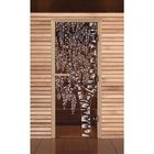 """Дверь для бани и сауны """"Берёзка"""", бронза, 8мм, УФ-печать, 190х70см"""