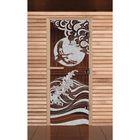 """Дверь для бани и сауны """"Журавль"""", бронза, 8мм, УФ-печать, 190х70см"""