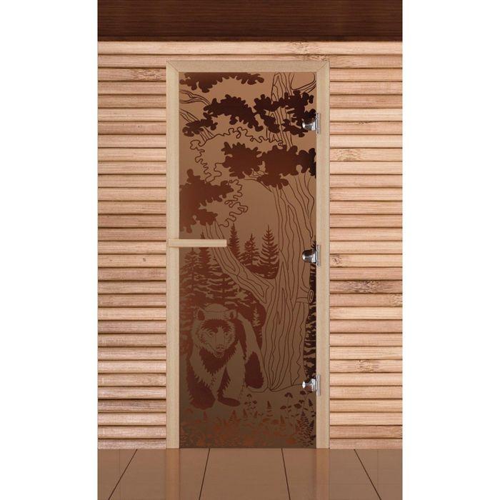 """Дверь для бани и сауны """"Мишка в лесу"""" бронза, матовая, 8мм, УФ-печать, 190х70см, Добропаровъ"""