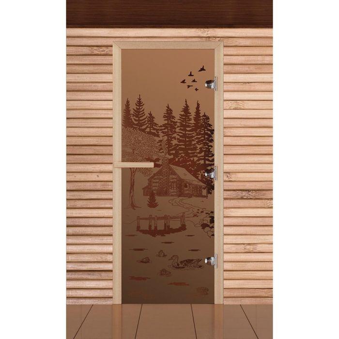"""Дверь для бани и сауны """"Банька в лесу"""" бронза, матовая, 8мм, УФ-печать, 190х70см, Добропаровъ 206730"""