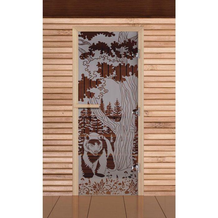 """Дверь для бани и сауны """"Мишка в лесу"""", сатин, 8мм, УФ-печать, 190х70см"""