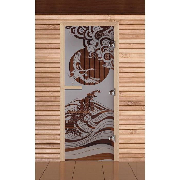 """Дверь для бани и сауны """"Журавль"""", сатин, 8мм, УФ-печать, 200х80см"""