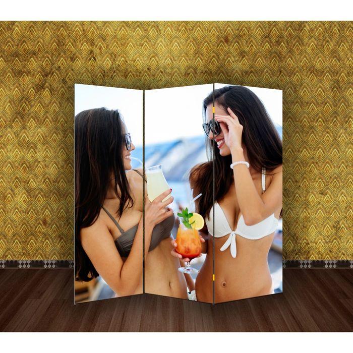"Ширма ""Девушки с коктейлем"" 150 × 160см"
