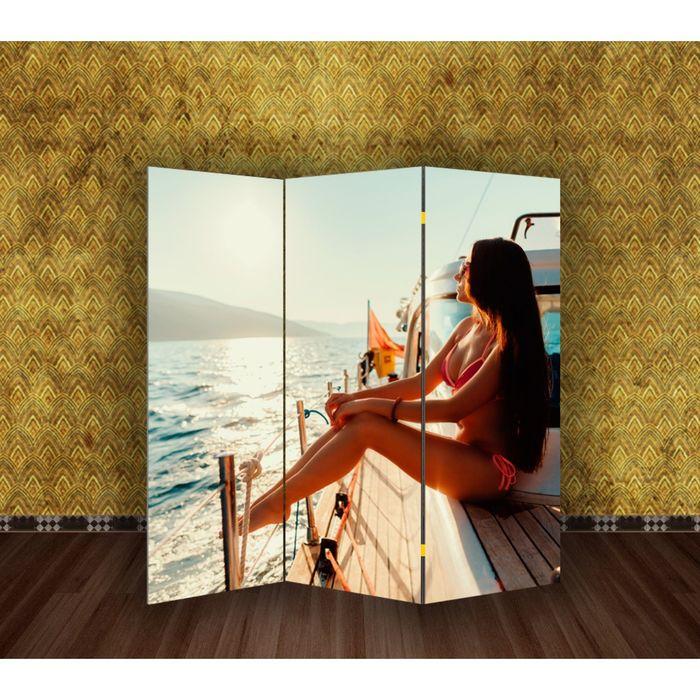 """Ширма """"Девушка на яхте"""" 150 × 160см"""