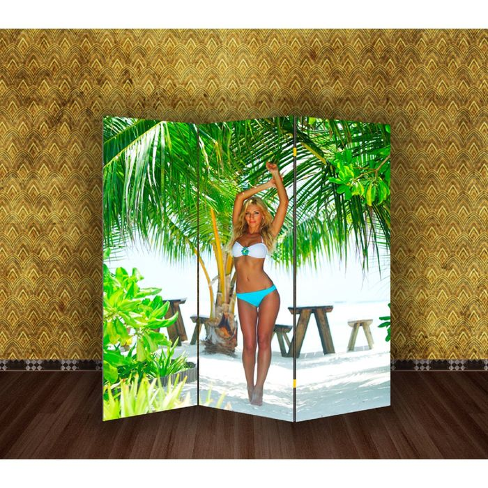 "Ширма ""Девушка на пляже"" 150 × 160см"