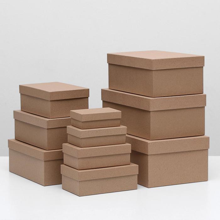 "Набор коробок 10в1 ""Крафт однотонный"", 32 х 19,5 х 12,5 - 11,5 х 6,5 х 4 см"