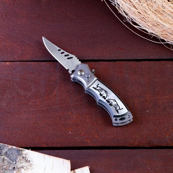 Нож складной автоматический, рукоять с рисунком