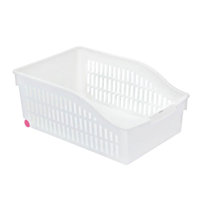 Корзина для хранения на колёсиках, 30,5×20,5×12,5 см, цвет белый - фото 308327070