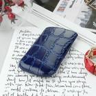 Чехол Time для телефона, с ремешком, размер 4 , 53x113x13 мм, крокодил, цвет синий