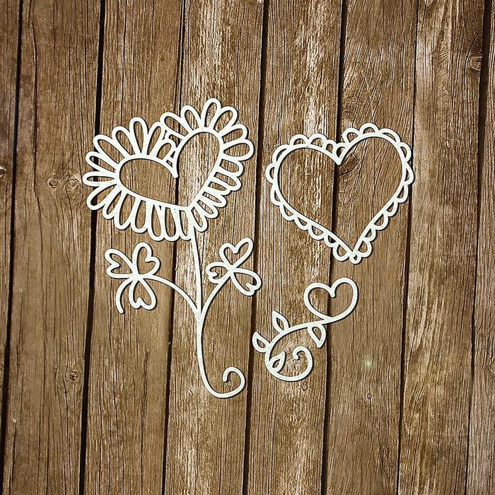 "Чипборд картон ""Сердечки цветочки"" толщ.0,9-1,15 мм, 2х2см, 3х3см и 3,5х6см"