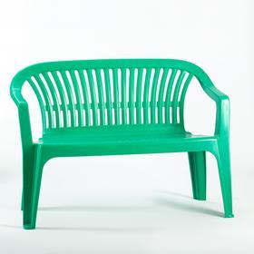 """Скамья садовая, пластиковая 115 х 60 х 81 см, со спинкой """"Престиж"""", зеленая"""