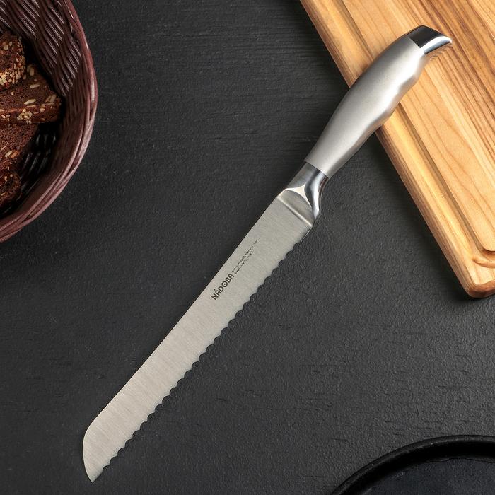 Нож кухонный NADOBA MARTA для хлеба, лезвие 20 см, ручка из стали