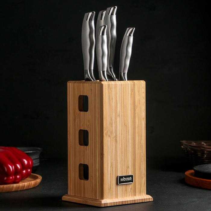 Набор кухонных ножей «MARTA», 5 предметов, с универсальным блоком, цвет серебряный
