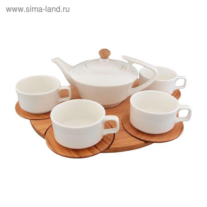 """Чайный набор """"Кристалл"""", на деревянной подставке 9 предметов"""