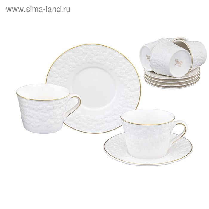 """Чайный набор """"Белоснежные цветы"""", 12 предмета 0,21 л"""